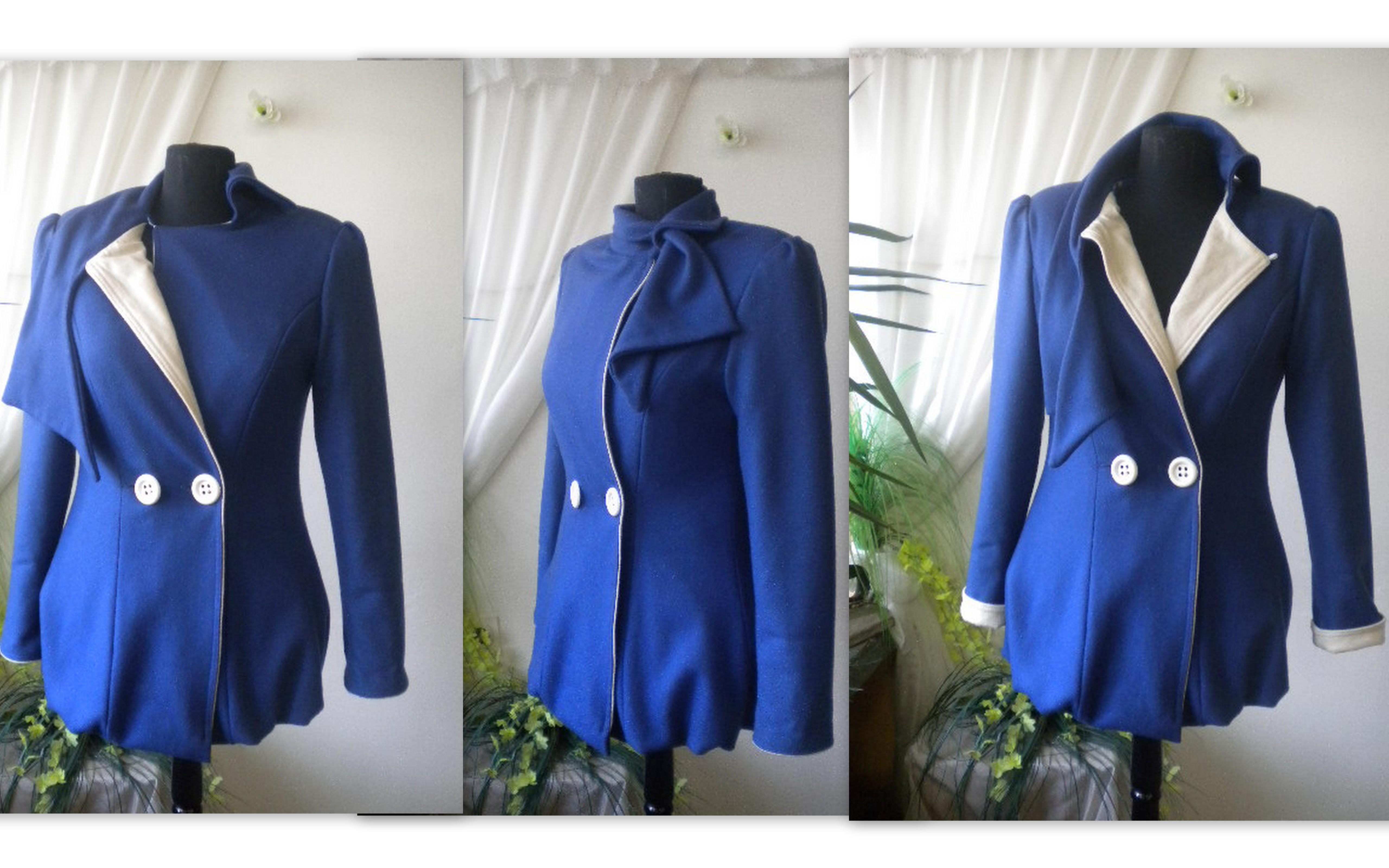 Елегантно дамско синьо палто изработено от фин вълнет текстил