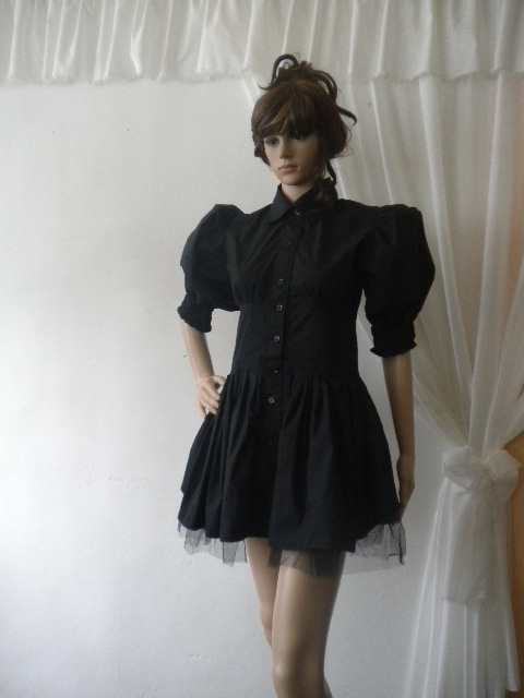 Елегантна черна риза с кринолин