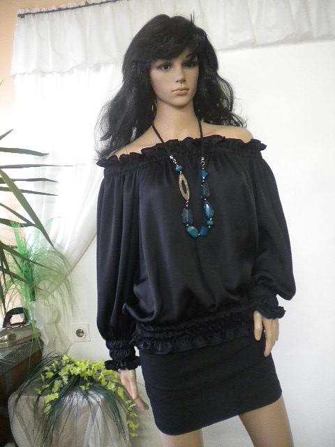 Елегантна дамска блуза  с  ластици от черна коприна
