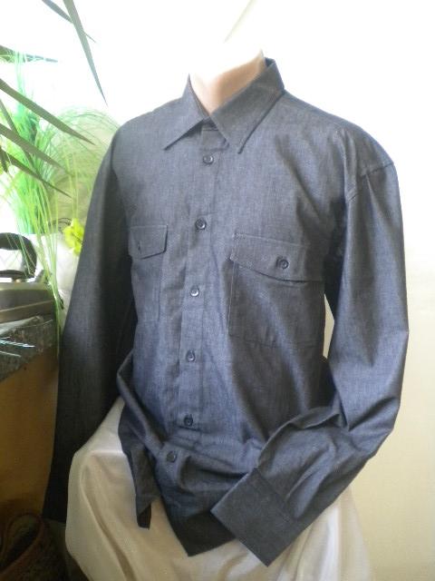 Спортна мъжка риза с дълъг ръкав  в черен цвят,два джоба с капаци