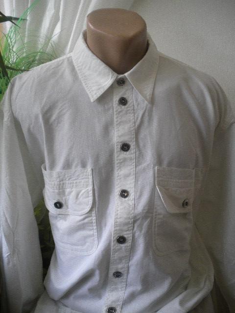 Спортна бяла мъжка риза с дълъг ръкав от варен памук