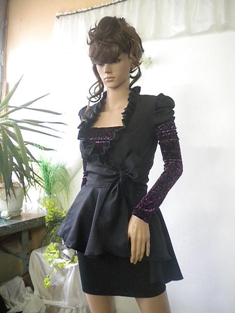 Елегантно дамско сако в черно със ръкави от дантела с кадифе и отделно бюстие