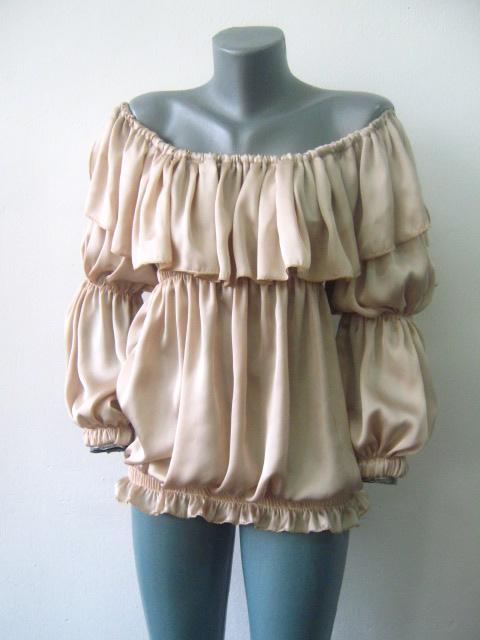 Стилна и елегантна дамска блуза с ластици от естествена коприна