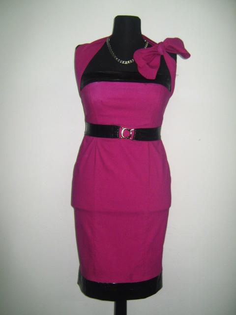 Елегантна рокля в цикламено и черно