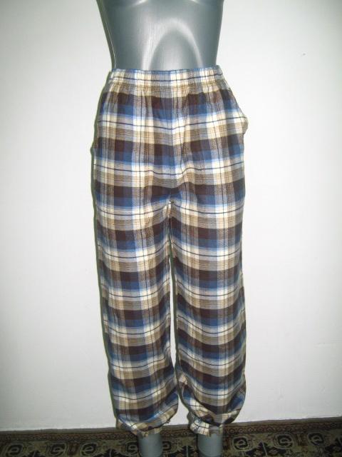 панталонки -пижама от бархет каре в тъмно синьо ,светло синьо и бежово