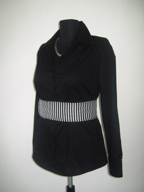 Елегантна  черна дамска риза -вталена с колан