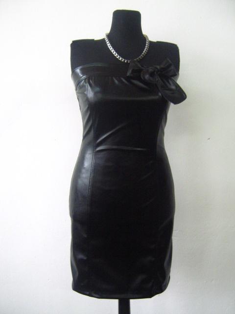 Елегантна черна кожена рокля -бюстие с цикламен цип на гърба
