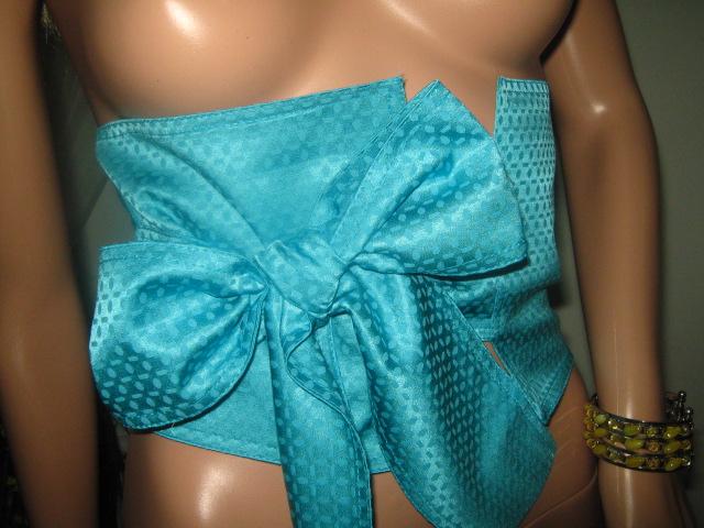 Корсет колан в синьо с панделка