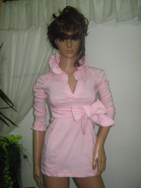 Елегантна розова ризка с къдри и панделка