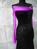 Елегантна  рокля черно и цикламено