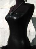 Уникат - секси рокля от кожа и органза
