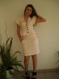 Стилен дънков костюм в розаво