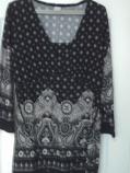 дамска туника дълъг ръкав бяло черно