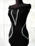 Вечерна рокля с мрежа и мъниста в сребристо -60%
